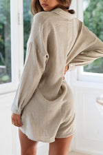 Casual Solid  Buttoned Long Sleeves Jumpsuits