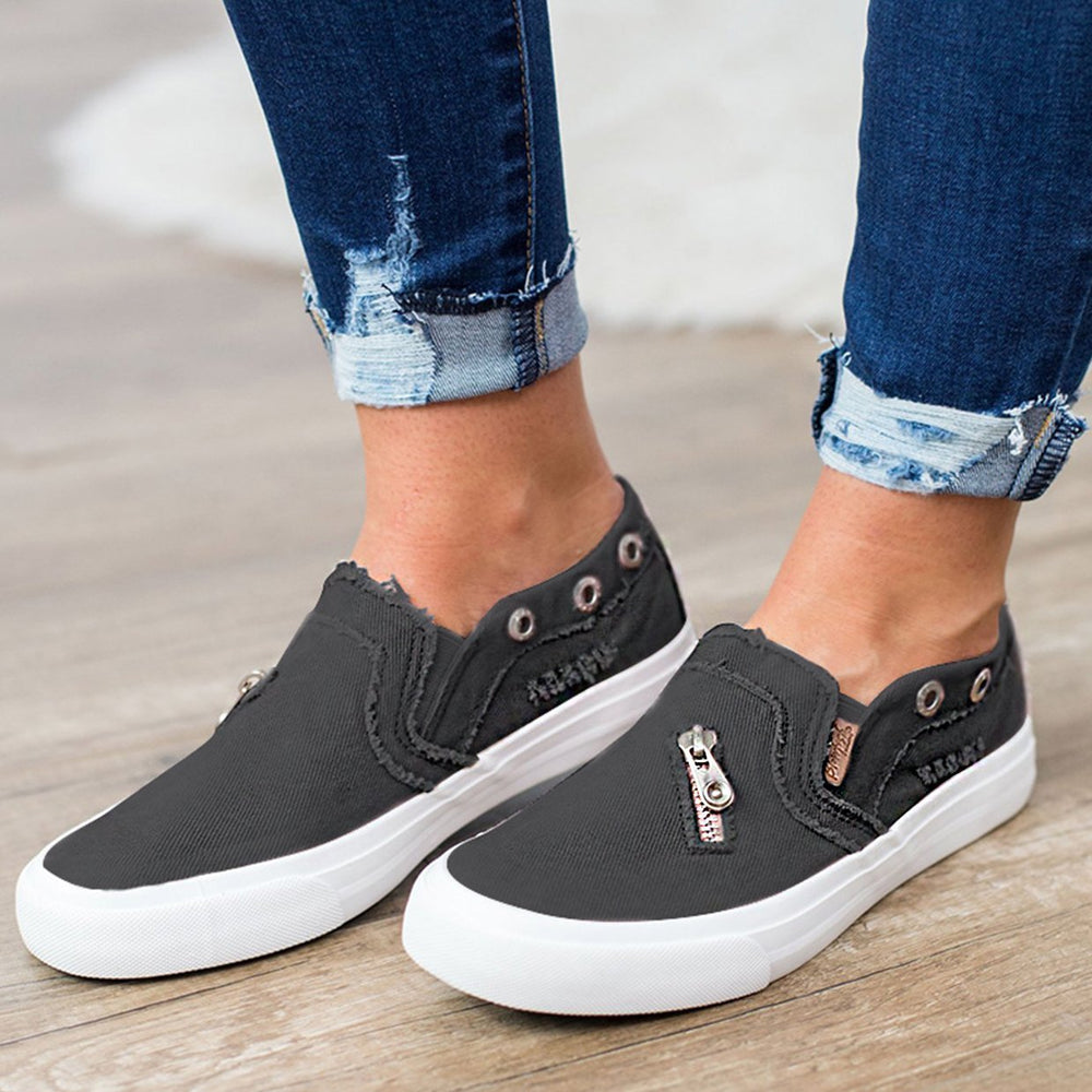 Fashion Canvas Zipper Flats Sneakers