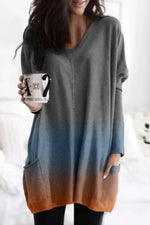 Gradient Pockets Long Sleeves Blouses