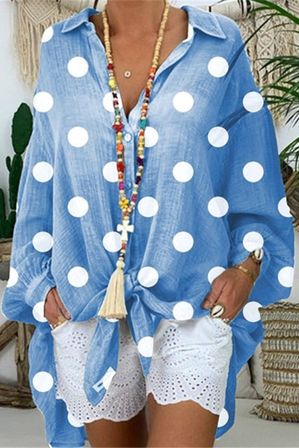 Balloon Sleeves Polka Dots Loose Casual Blouses