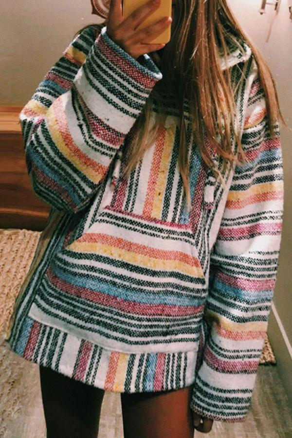 Colorful Stripe Hooded Loose Casual Sweatshirts