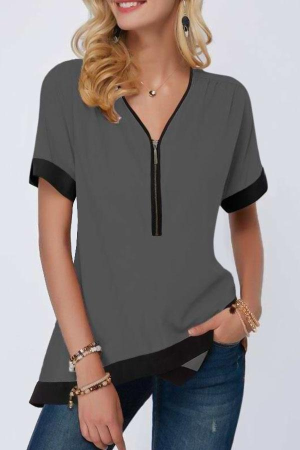 Paneled Zipper V-neck Cross Front Hem Casual T-shirt