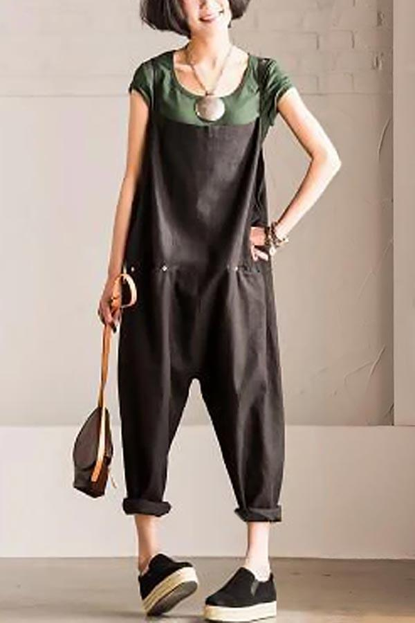 Solid Paneled Side Pockets Sling Casual Harem Jumpsuit