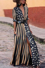 Striped Paneled Polka Dots Slit Maxi Dress