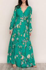 Boho Floral Print A-line Self-tie  Maxi Dress