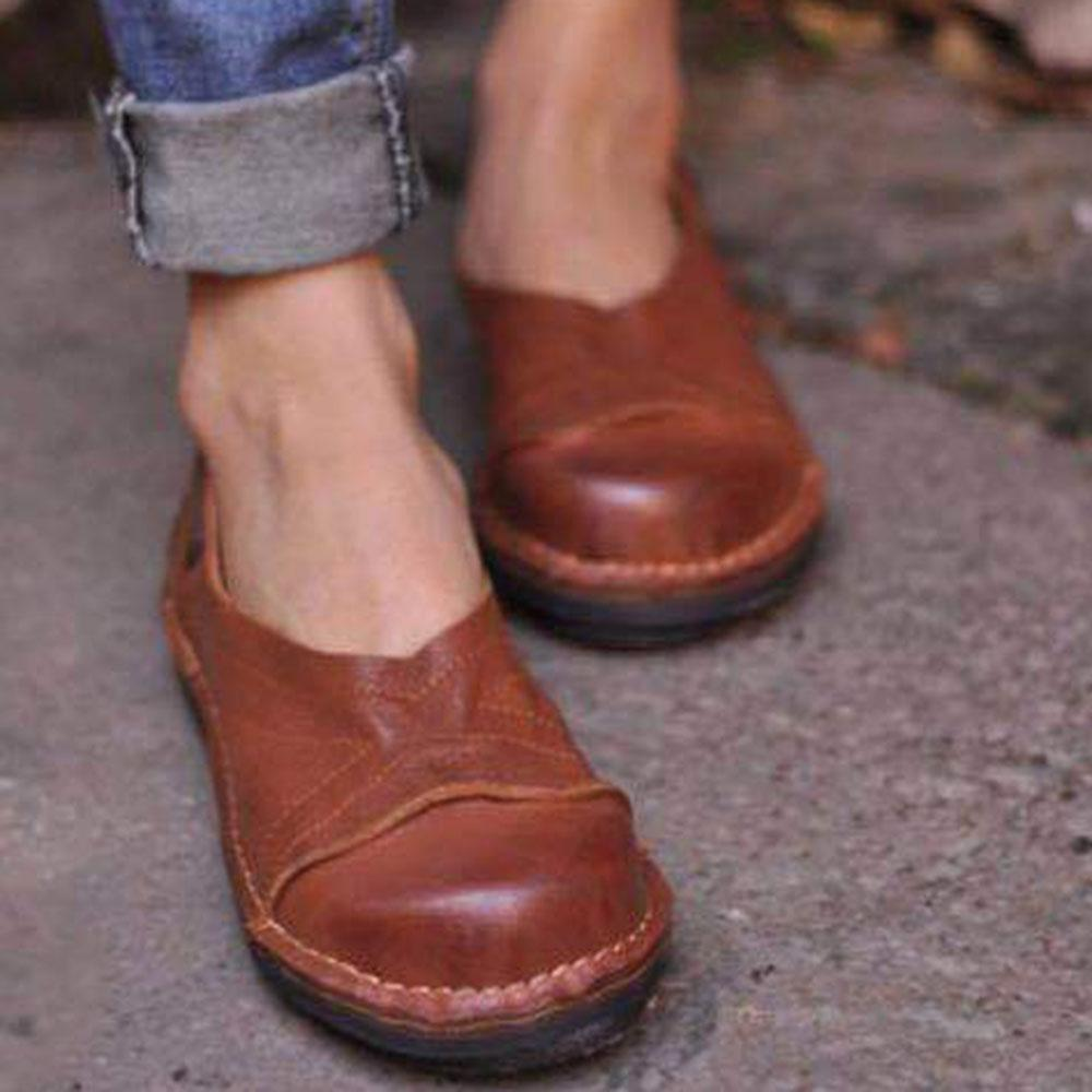 Solid Casual Round Toe Flats