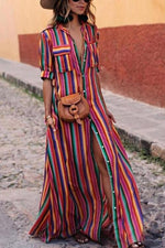 Striped Slit Holiday Maxi Dress