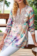 Paneled Gradient Print Lace Buttoned V-neck Holiday Blouse