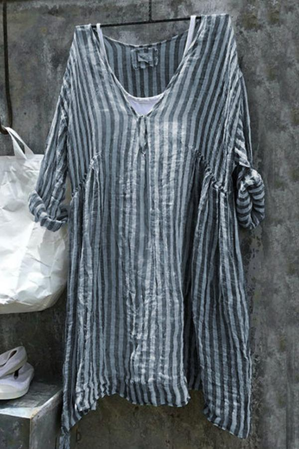 Casual V-neck Striped Linen T-shirts