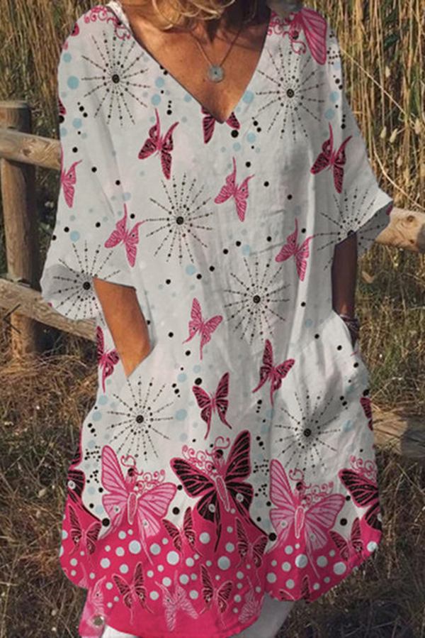Butterfly Print Pockets Half Sleeves Midi Dress