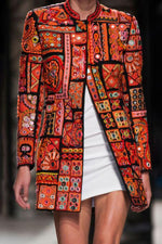 Ethnic Print Paneled Buttoned Vintage Coat