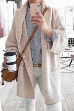 Long Sleeves Casual Solid Side Pockets Cardigans