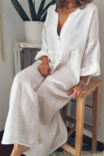 Linen Solid Loose Long Sleeves Maxi Dress