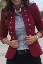 Casual Solid Long Sleeves Buttoned Coat