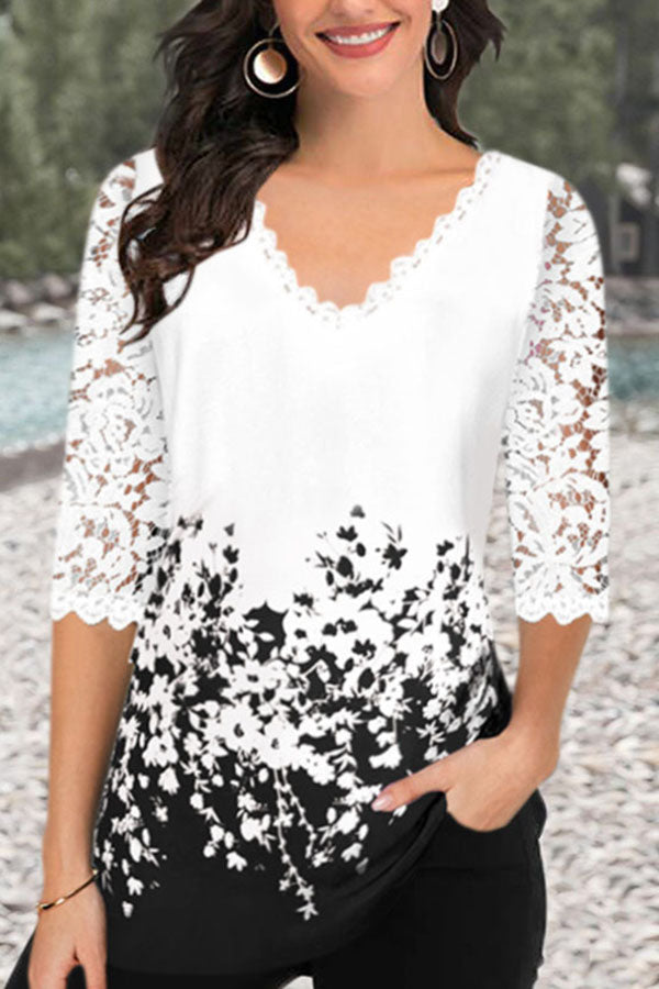 Casual  V Neck Lace Half Sleeves T-shirts