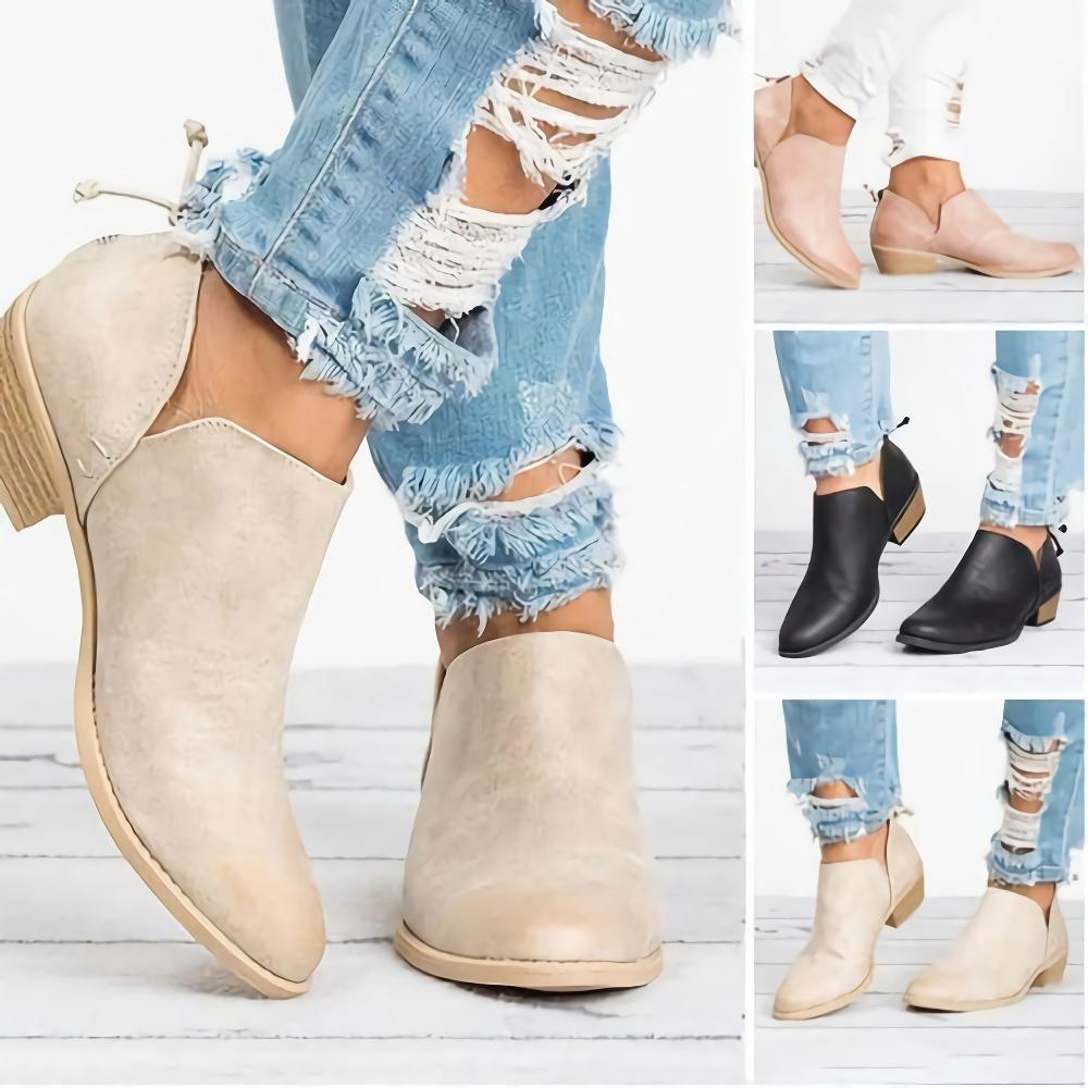 Solid Point Toe Back Zipper Ankle Boots