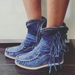 Casual Tassel Buckles Solid Round Toe Short Boots