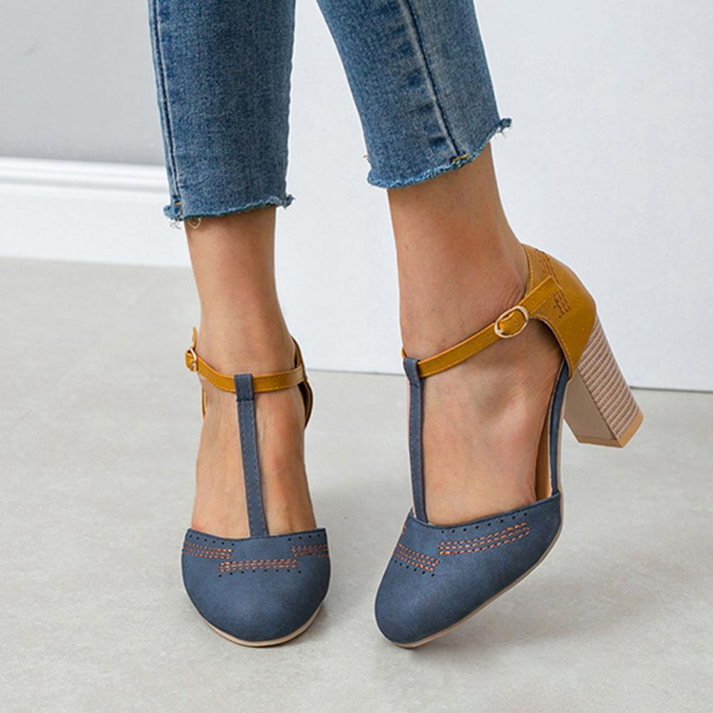 Belt Buckle Round Toe Chunky Heel Cutout Sandals