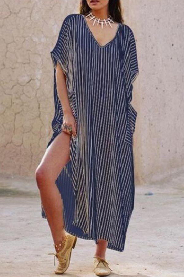 V Neck Slit Stripe Side Pockets Holiday Dress