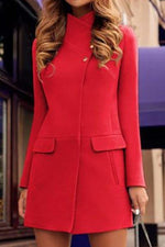 Paneled Solid Buttoned Stand Collar Elegant Coat