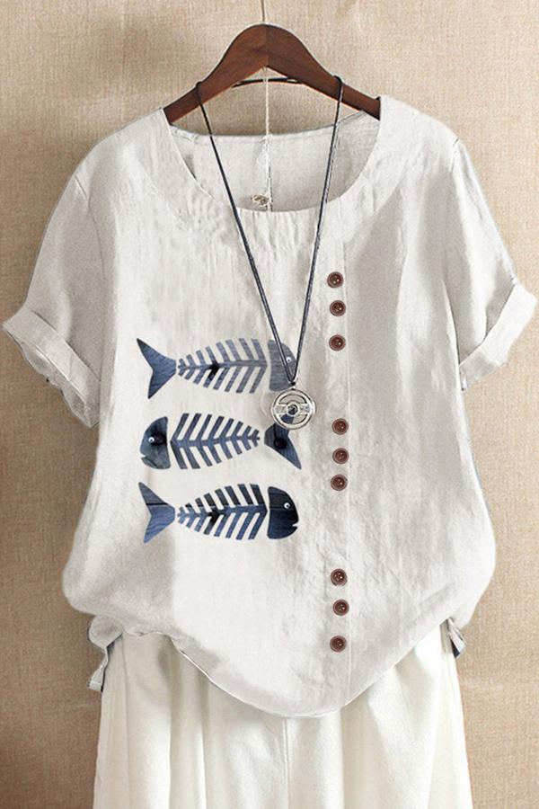 Fish Print Buttoned Round Neck  T-shirts