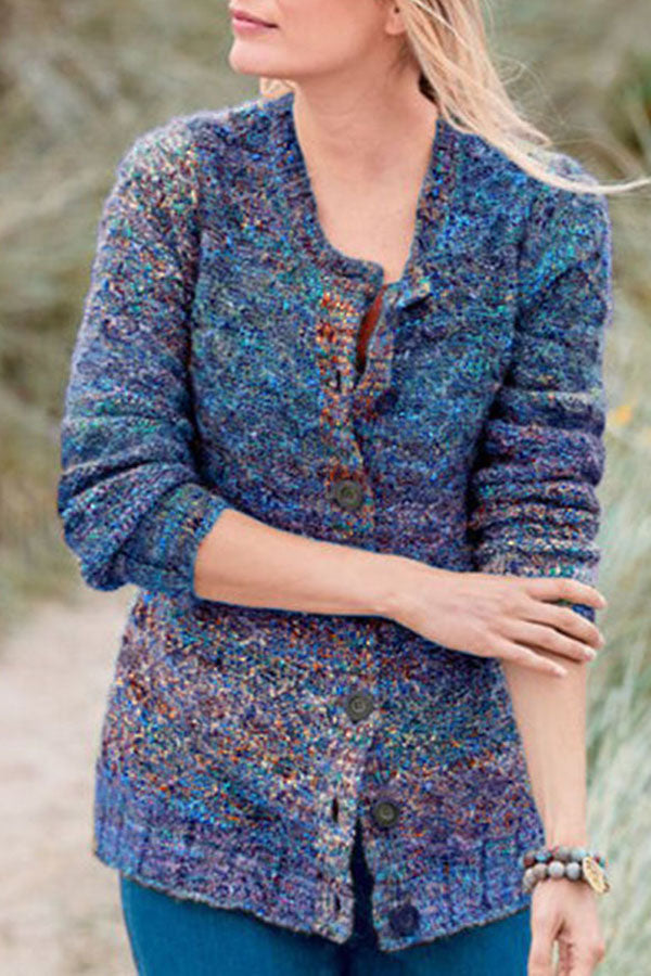 Colorful Knitted Button Down Cardigans