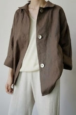 Solid Buttoned Side Pockets Casual Coat