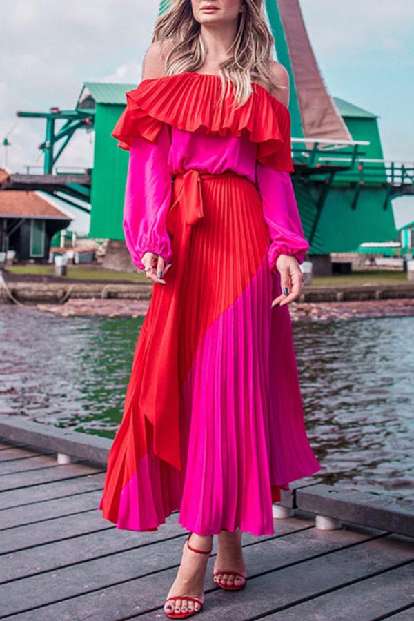 Color-block Off Shoulder Pleated Maxi Dress