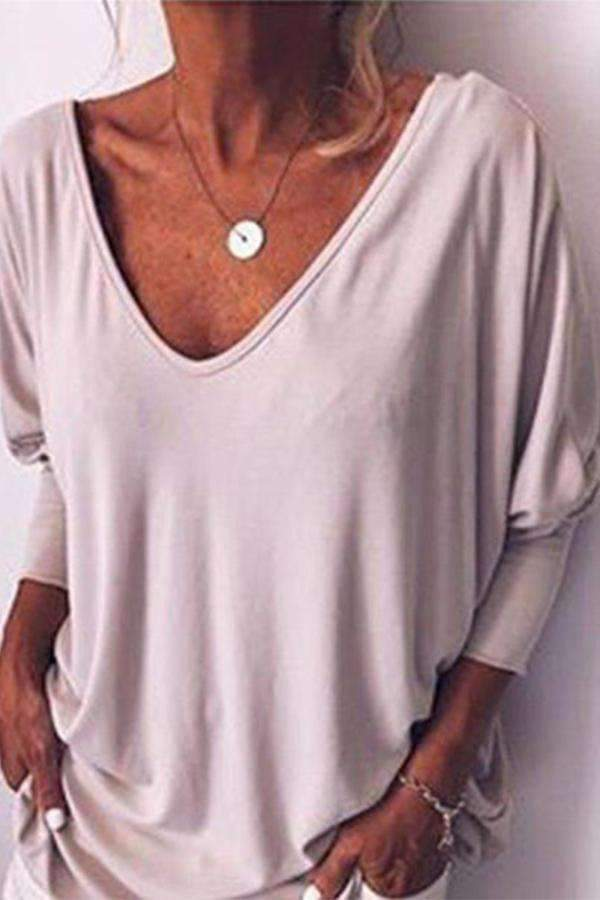 V-neck 3/4 Sleeves Button Down Back Blouses