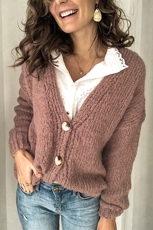 Solid V Neck Button Casual Knitted Cardigans