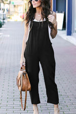 Casual Solid Square Neck Loose Jumpsuit