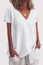 Solid V-neck Casual T-shirt
