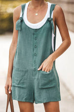 Linen Buton Up Pockets Shift Romper