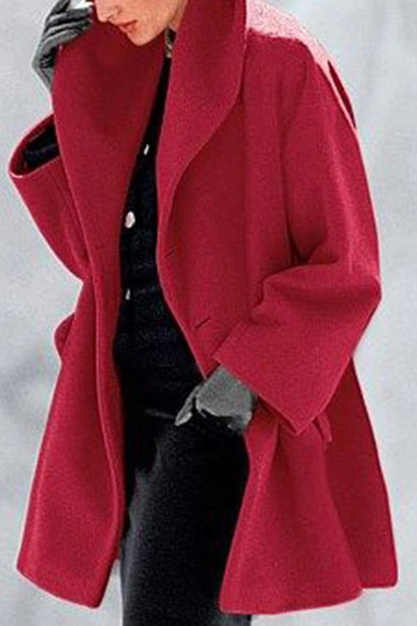 Solid Lapel Side Pockets Casual Coat