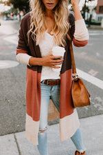 Color-block Stripe Open Front Casual Cardigans