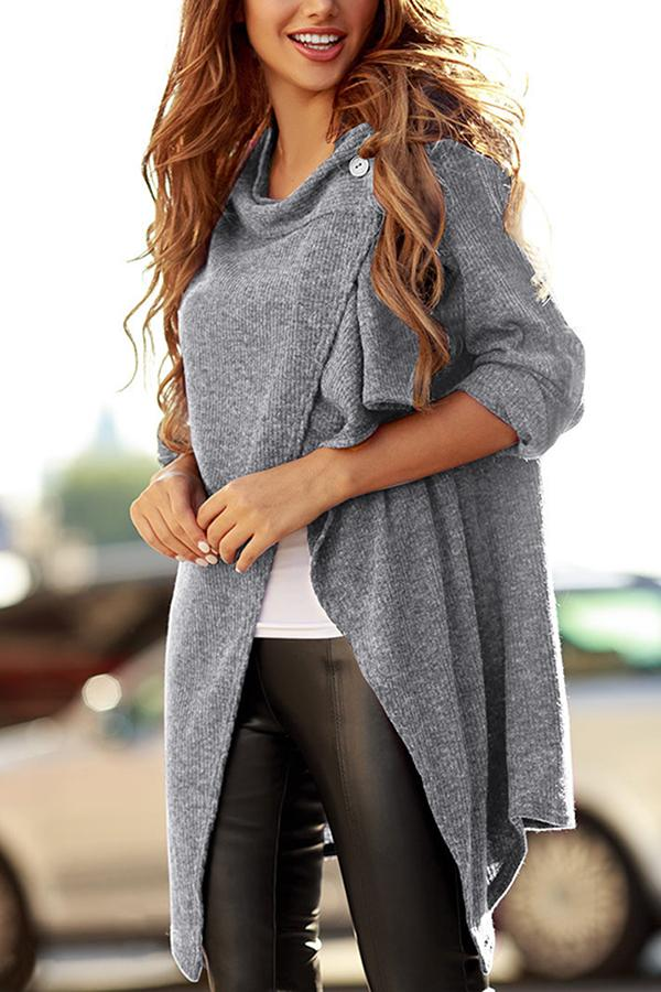 Casual Solid Button Long Sleeves Cardigans
