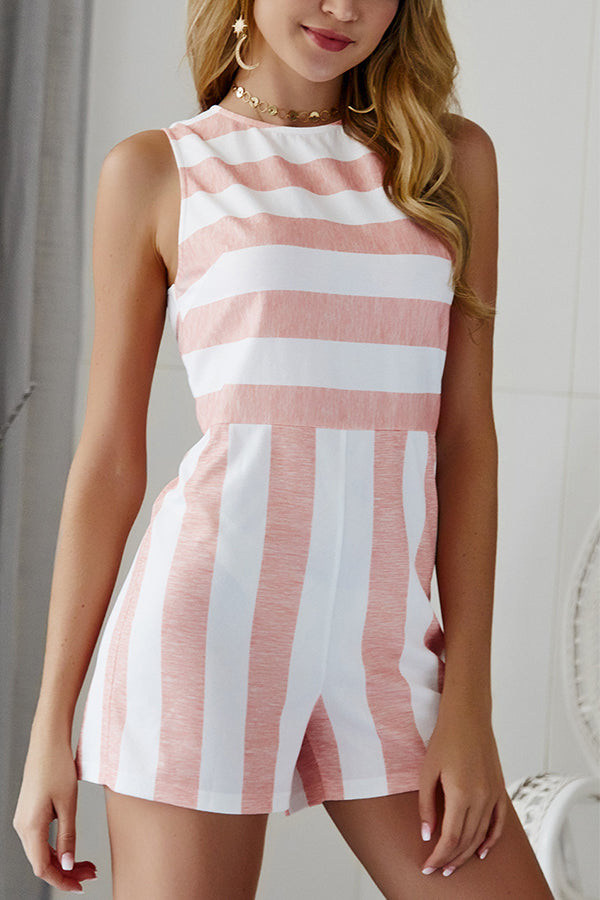Striped Sleeveless Crew Neck Romper