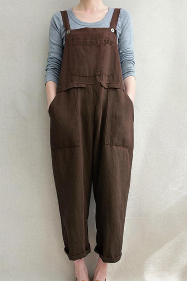 Basic Solid Linen Pockets Harem Jumpsuits
