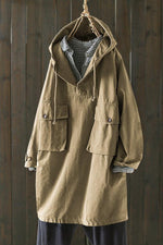 Solid Pockets Drawstring Casual Hooded Coat
