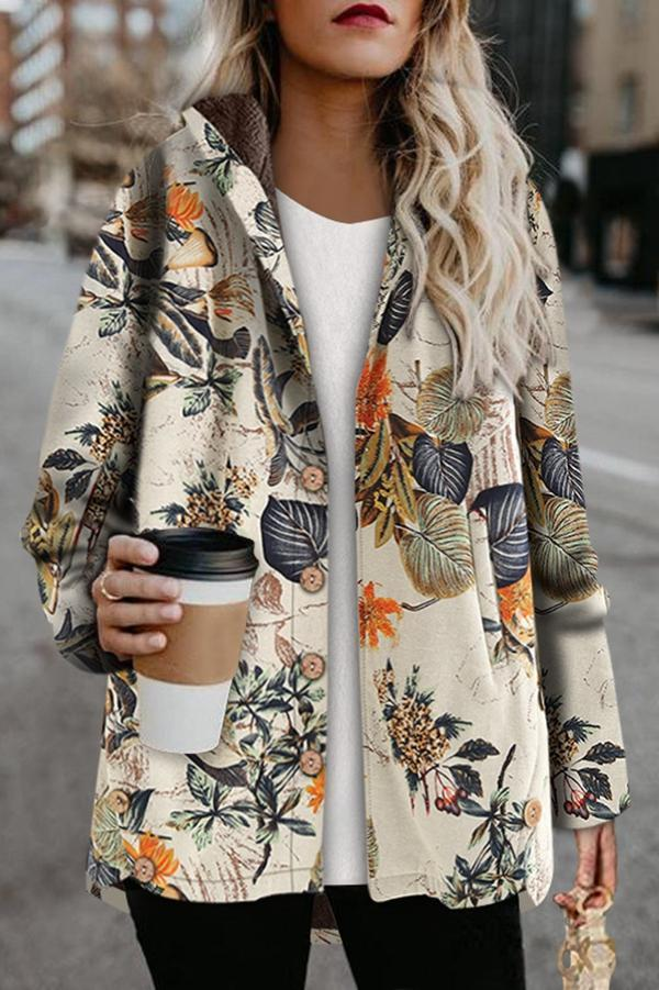 Floral Single Breasted Fluffy High Low Hooded Coat