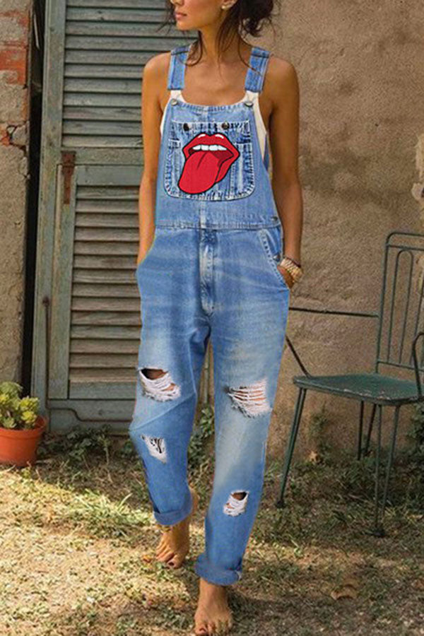 Mouth Embroidery Paneled Cutout Pockets Casual Jumpsuit