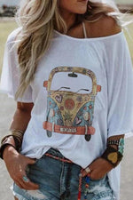 Bus Printed Short Sleeve One Shoulder T-Shirt