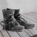 Fringed  Vintage Closed Toe Boots
