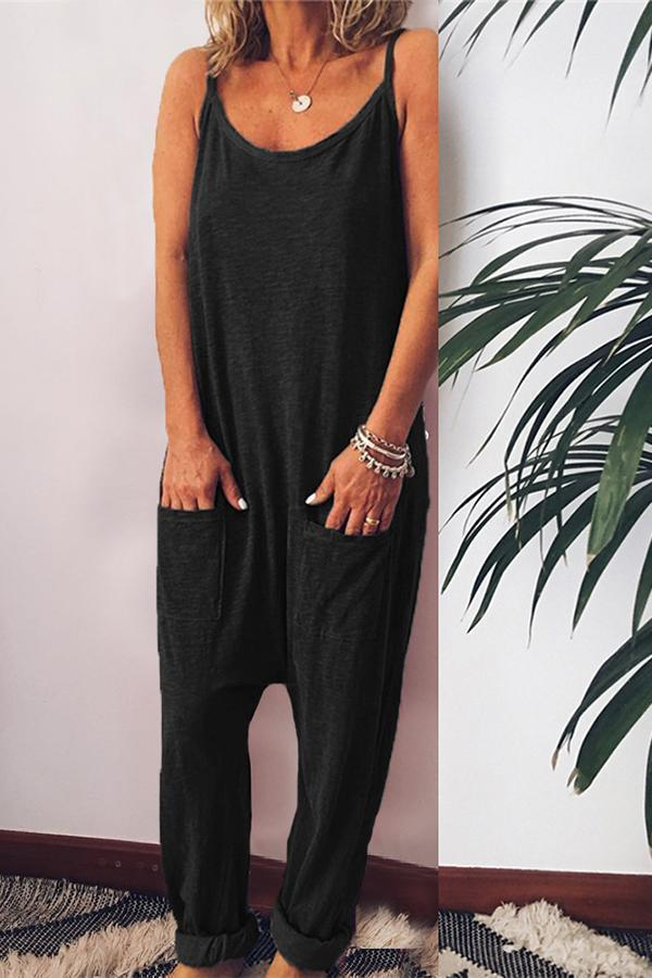 Casual Solid Sleeveless Side Pockets Jumpsuits