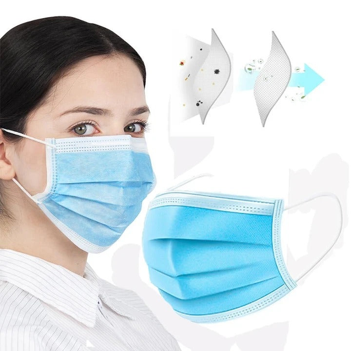 50 pcs 3-layer Protective Mask Anti-Pollution Soft Breathable Disposable Mask