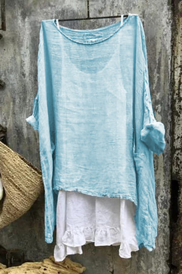 Casual 3/4 Sleeve Two Pieces Linen T-shirts