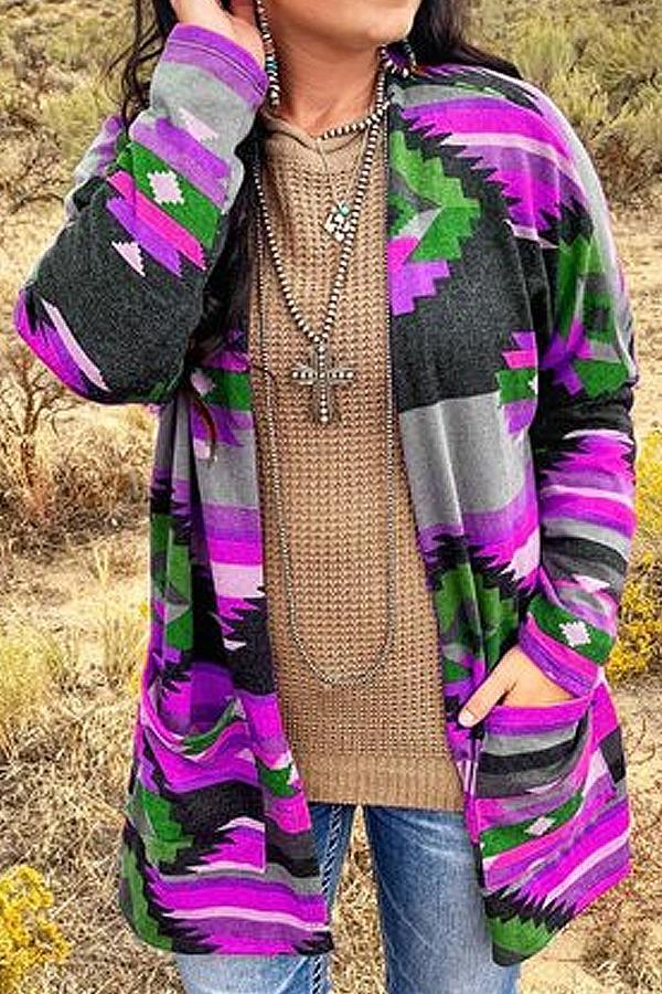 Geometry Printed Long Sleveves Pockets Cardigans