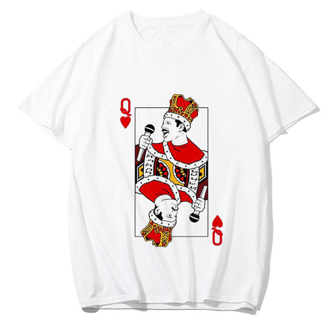 t shirt freddie mercury queen playing card