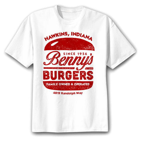 t shirt stranger things hawkins benny's burger