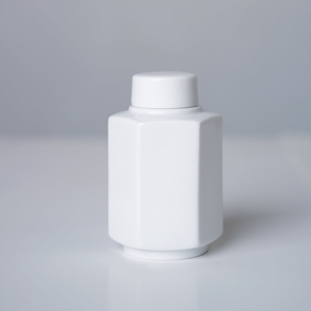 White Ceramic Canister - Hexagonal